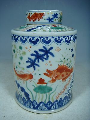 beautiful chinese dou-cai porcelain tea canister
