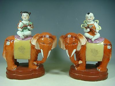 beautiful chinese famille rose porcelain a pair elephants statue
