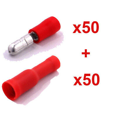 100 Red Bullet Connector Insulated Crimp Terminals for Electrical & Audio Wiring