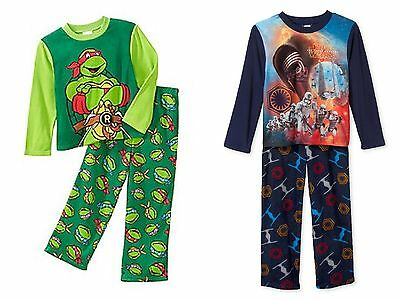 New NWT Boys size 8 pajamas long sleeve pants fleece sleepwear TMNT or Star Wars