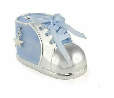 Brand New Silver Plated Blue Baby Bootie Money Box For Boys
