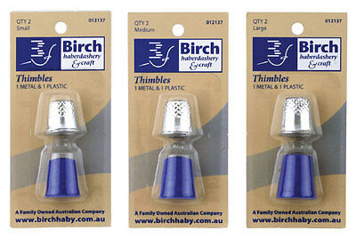 Birch | Thimbles | 2 Pack | 1 Metal 1 Plastic | Sewing Accessories & Tools