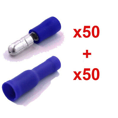 100 Pcs Electrical Male & Female Insulated Wire Bullet Crimp Connector Terminal