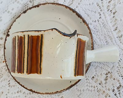 Vintage Midwinter Stonehenge EARTH Gravy Boat & Under Plate Stoneware England