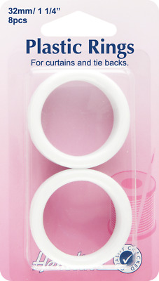 NEW Hemline H471.32 | White Plastic Curtain Rings | 32mm x | 8 pieces FREE POST