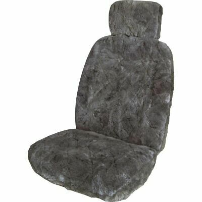 SCA Sheepskin Seat Cover - Charcoal, Adjustable Headrests, Size 30, Front Single