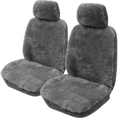 Gold Cloud Sheepskin Seat Covers - Grey, Adjustable Headrests, Size 30, Front...