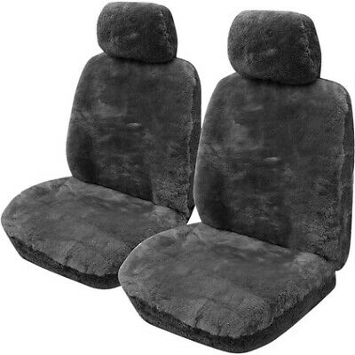 Gold Cloud Sheepskin Seat Covers - Slate, Adjustable Headrests, Airbag Compat...