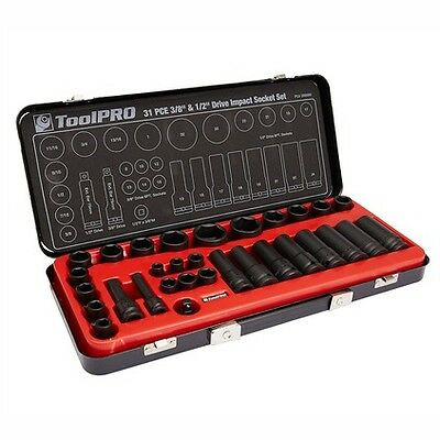 "ToolPro Impact Socket Set - 1/2""/3/8"", Metric/Imperial, 31 Piece"