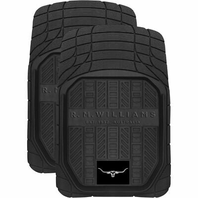 R.M.Williams Car Floor Mats - Rubber, Black, Set of 2
