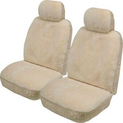 Gold Cloud Sheepskin Seat Covers - Bone, Adjustable Headrests, Airbag Compatible