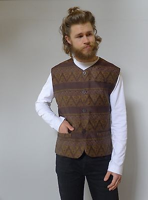 Vintage retro mens vest true 80s XL brown marron brocade excellent