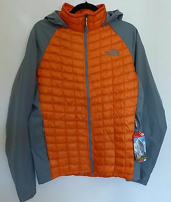 The North Face Men's THERMOBALL HYBRID HOODIE Insulated Jacket Orange Grey S Sml