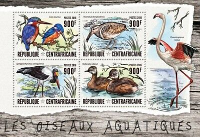 Central Africa- 2016 Water Birds - 4 Stamp Sheet - CA16413a