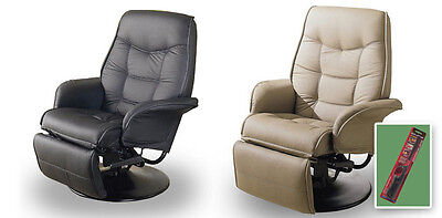 Recliner Tan or Black Swivel Seat Captains Chair RV Travel Trailer Boathouse