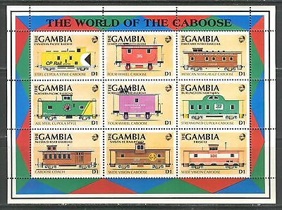 TRAINS, CABOOSE ON GAMBIA 1991 Scott 1114, SHEET OF 9, MNH