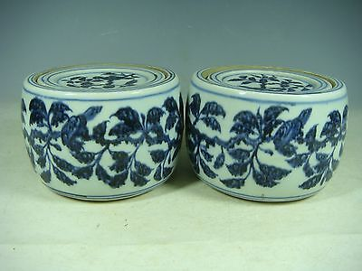 beautiful chinese blue&white porcelain a pair the cricket cans