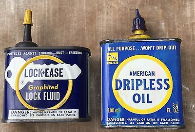 Vintage Oil Can Lot of 2 Muskegon MI American Grease Stick Co. Dripless