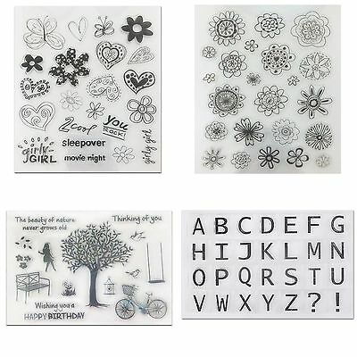 Flower Letter Girl Transparent Rubber Clear Stamp Cling Seal Scrapbooking Craft