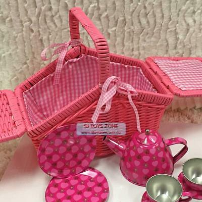 Mia Tin Tea Set in Pink Wicker Basket 18pc Kids Pretend Play Girls Tea Part Toy