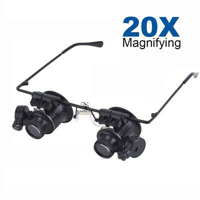 20(X) Magnifier Magnifying Eye Glass Loupe Jeweler Watch Repair LED Light Lamp