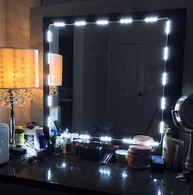 white 10FT Dressing Mirror Lighted Cosmetic Makeup Vanity LED light+remote+power