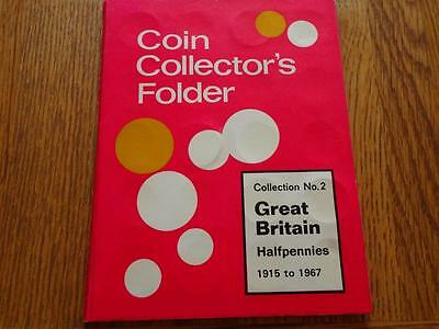 Great Britain Half-Penny 1915 To 1967 Complete 55 Coins In Whitman Type Folder