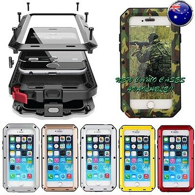 Heavy Duty Shockproof Bumper Metal Cover Case iPhone Samsung 5 6 7 8 X Plus