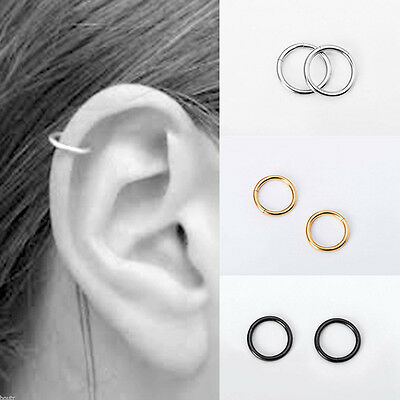 2pcs Stainless Steel Ring Hoop Ear Nose Lip Cartilage Tragus Helix Piercing