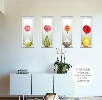 Removable 3D Flower Vase Wall Sticker Home Decal Living Room Decoration Mural UK