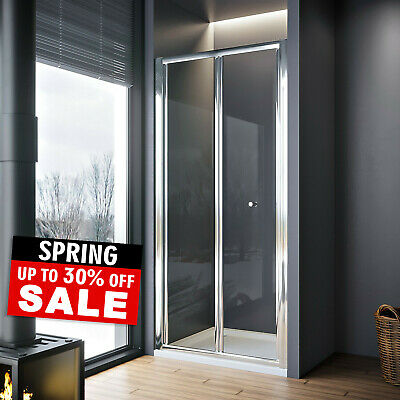 Bathroom Bi Fold Shower Door Enclosure Glass Screen FREE NEXTDAY DELVIERY