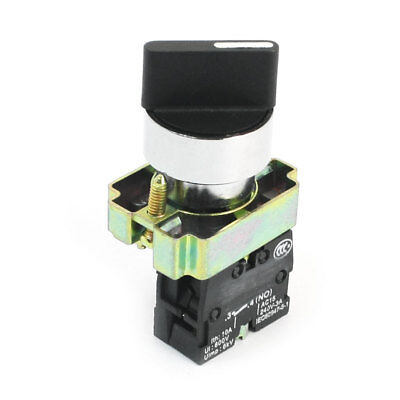 AC240V 3A 22mm SPST 1NO 2-Terminal 2-Position Locking Selector Rotary Switch