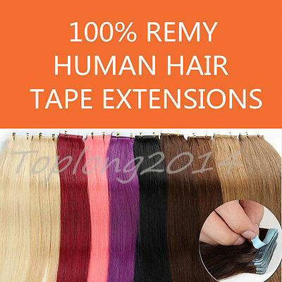 """Straight AAA Tape In 100% Real Human Hair Extensions 20/40pcs 16-24"""" Wholesale"""