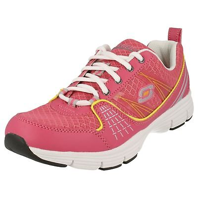 Ladies Skechers Pink And Yellow Lace Up Trainers/gym Shoes Style Stolen