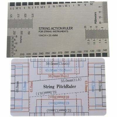 Set of 2 Guitar Bass Gauge Ruler String Pitch Luthier Tool Measuring Guide