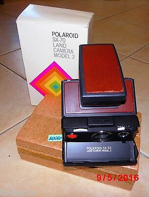 POLAROID SX-70 LAND CAMERA MODEL 2 dunkelbraun in OVP;  KULT-KAMERA (W0060)