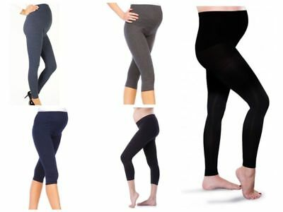 Thick Comfortable Maternity Adjustable Leggings Cropped 3/4 Length PREGNANCY