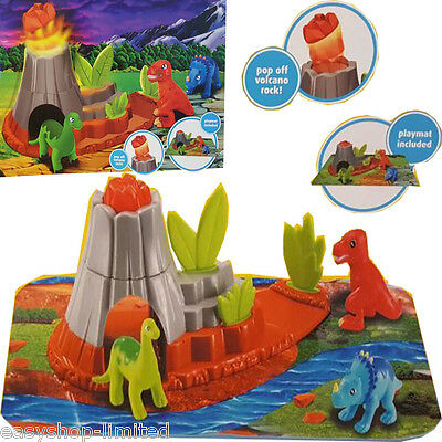 3 Piece Jumbo Dinosaur Playset Toy Animals Action Figures Set T Rex Triceratops