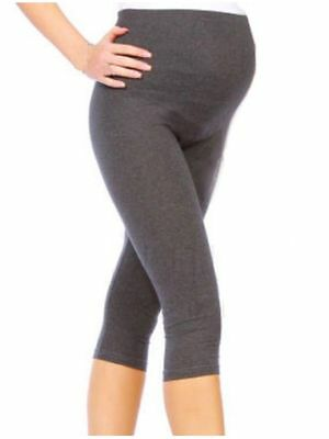 Cropped Comfy Adjustable Maternity Cotton Pregnancy Leggings - Grey - Size 16