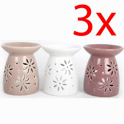 3 X Flower Oil Burner Wax Tealight Candle Tarts Cake Melts Granules Simmering
