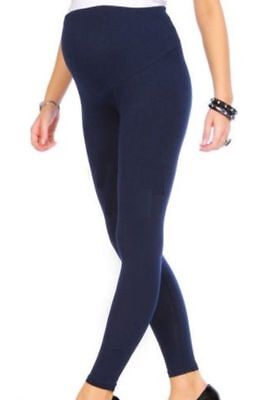 Maternity Leggings Full Length Adjustable Comfy Pregnancy Leggings Blue  Size 12