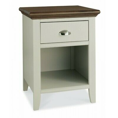 Georgian Painted Furniture Grey & Walnut Bedside Lamp Table with Drawer & Shelf