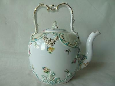 Large Antique Copeland Spode Ovoid Fixed Top Handle Porcelain Tea Kettle 8.5""