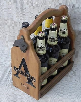 Personalized Gift - Wood Beer Carrier - Wooden Beer tote - Six Pack Caddy
