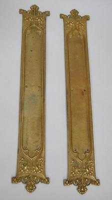 "Antique Brass Gothic Revival Pair Of Door Push Plates 22 1/8"" Tall"