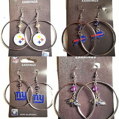 "NFL Team 2"" Crystal Bead Dangle Style Hoop Earrings - Pick Your Team"