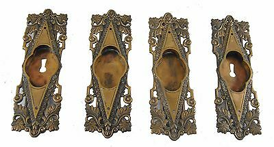 Four Victorian / Gothic Cast Brass Sliding Door Pulls