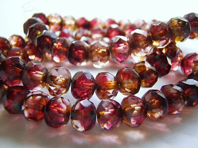 Fuchsia and Crystal Faceted Glass Rondelle Beads Two Tone 8 x 6 mm 10 Beads