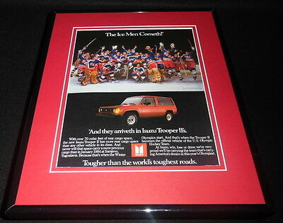 1984 Isuzu / Team USA Hockey Framed 11x14 ORIGINAL Vintage Advertisement
