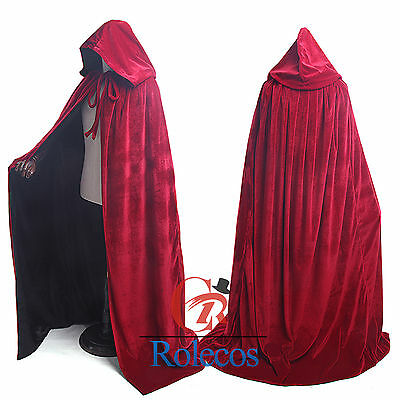 Hollowee Cosplay Cape Robe Hooded Velvet Cloak Gothic Vampire Wicca Medieval